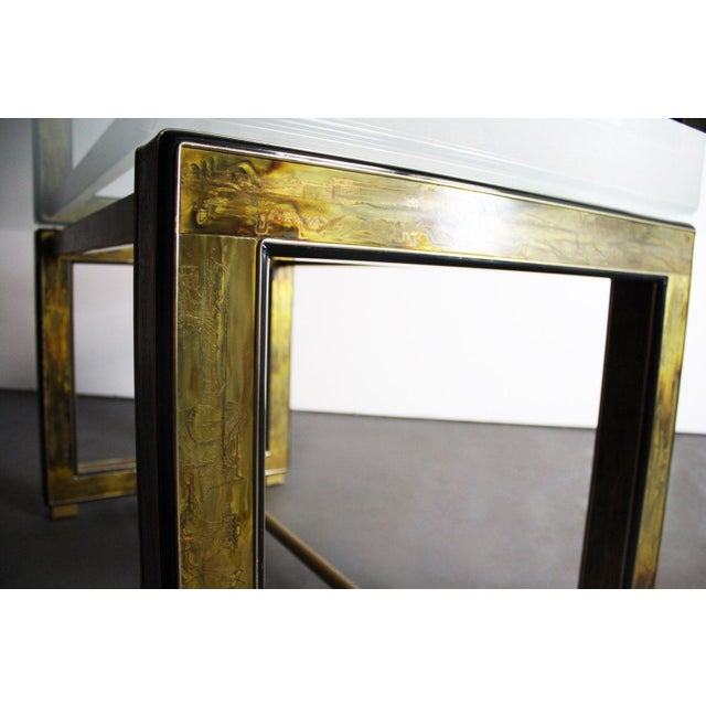Mastercraft Bernhard Rohne for Mastercraft Acid-Etched Brass Table For Sale - Image 4 of 6