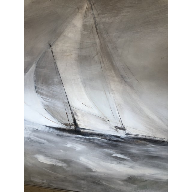 A very large stunning oil on board of a sailboat in stormy seas. Very stylized and gorgeous subtle neutral color palette...