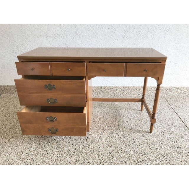 Ethan Allen Vintage Wood Writing Desk With Side Drawers And Turned Matching Swivel