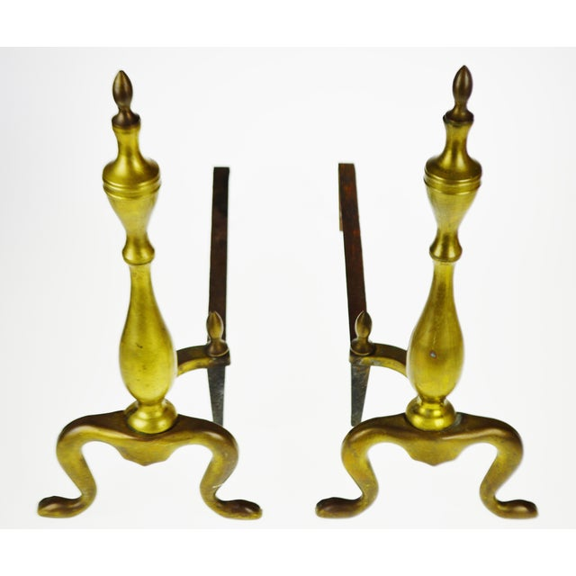 Vintage Logan Co. Federal Style Brass Fireplace Andirons - a Pair For Sale - Image 4 of 13