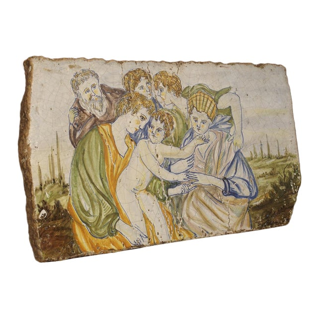 Antique Painted Tile from Italy, 17th Century For Sale