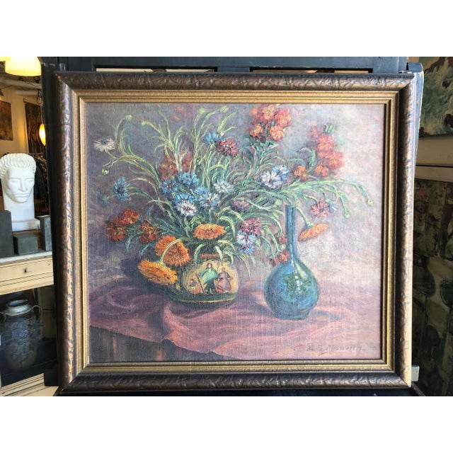 Traditional 1920s Vintage Edyth Glover Ellsworth Still Life With Flowers and Blue Vase Painting For Sale - Image 3 of 11