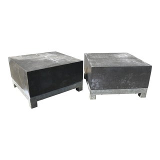 20th Century Post Modern Zinc and Galvanized Steel Cube Tables - a Pair For Sale