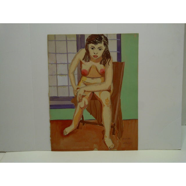 """This is an Original Painting on Paper that is titled """"Hunched Down Nude"""" by Tom Sturges Jr. and is dated February 25,..."""