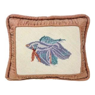 Vintage Rectangular Koi Fish Needlepoint Pillow For Sale