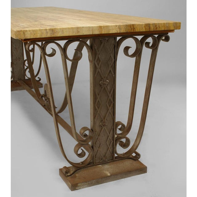 French Art Deco Large Rectangular Iron Scroll Side Center Table For Sale - Image 4 of 8