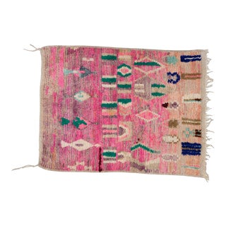Moroccan Boho Chic Hand Made Pure Wool Pink and Green Rug - 4' x 5' For Sale