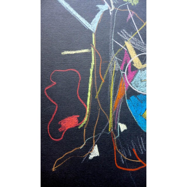 Abstract Pastel on Black Paper - Image 4 of 4