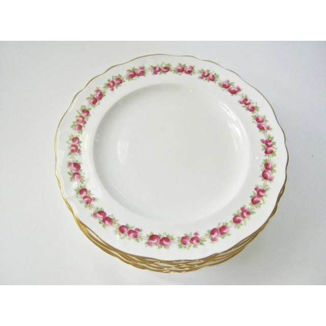 Traditional Antique Cauldon England Rose Border Gold Trim Plates - Set of 6 For Sale - Image 3 of 6
