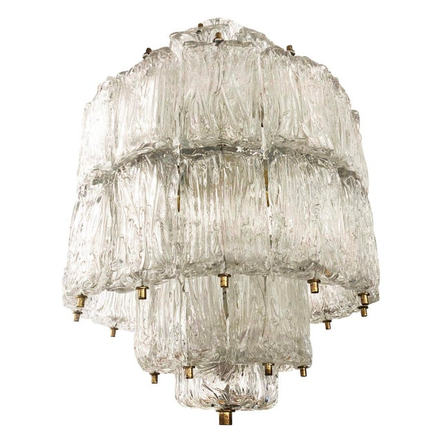 Barovier and Toso Textured Glass Chandelier, Italy, 1950's For Sale In New York - Image 6 of 8