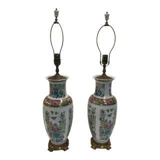 Famille Rose Lamps a Pair With Butterflies For Sale