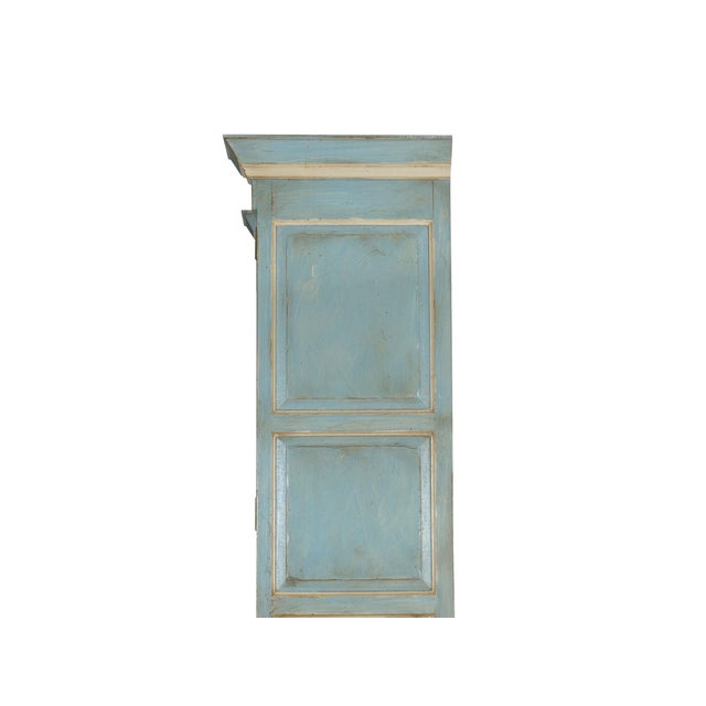 Swedish Gustavian Style Blue Painted Bookshelf Cabinet Bookcase by Lillian August For Sale - Image 11 of 13