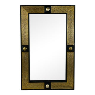 Hollywood Regency Style Moroccan Mirror in Brass and Wood Frame For Sale