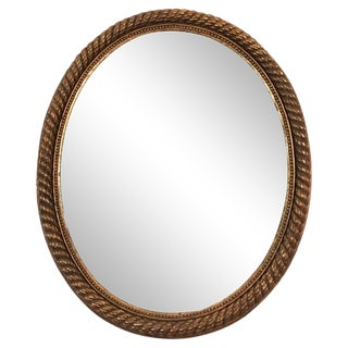 19th Century French Giltwood Oval Rope Twist Mirror For Sale
