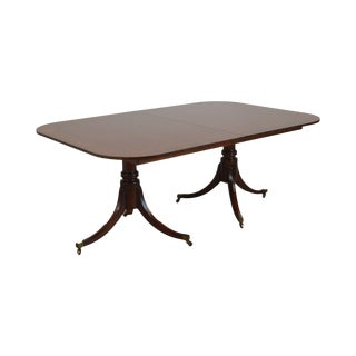 Baker Banded Mahogany Double Pedestal Dining Table For Sale