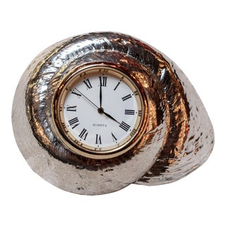 Silvered Rosy Top Sea Shell with Clock by Creel and Gow For Sale
