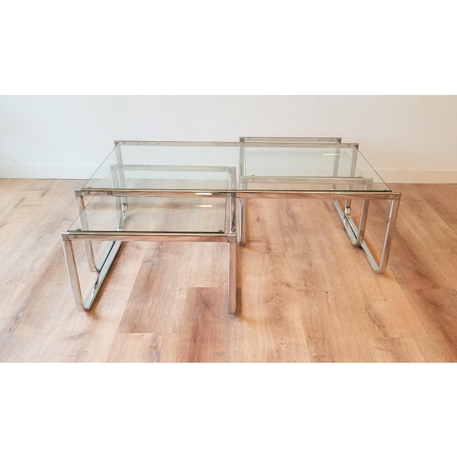 1970s Glass and Chrome Coffee Table With Nesting Side Tables Made in Italy For Sale In Seattle - Image 6 of 10