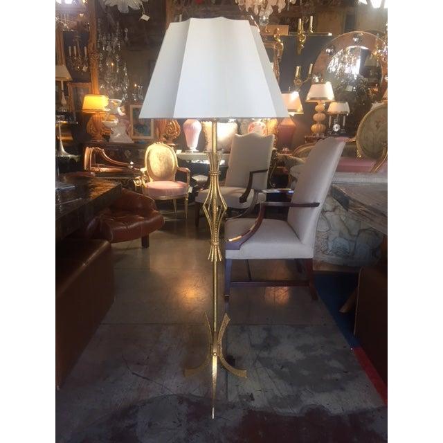 Mid-Century Modern Vintage Spanish Gilt Iron Floor Lamp For Sale - Image 3 of 10