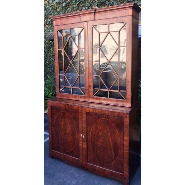 Early 19c Antique English Regency Mahogany Secretary Bookcase For Sale - Image 4 of 12
