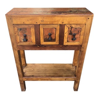 Rustic Weathered Pine Storage Console For Sale