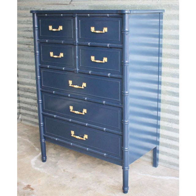 Faux bamboo Henry Link Bali Hai highboy dresser. Five dovetail drawers with original hardware. Professionally repainted in...