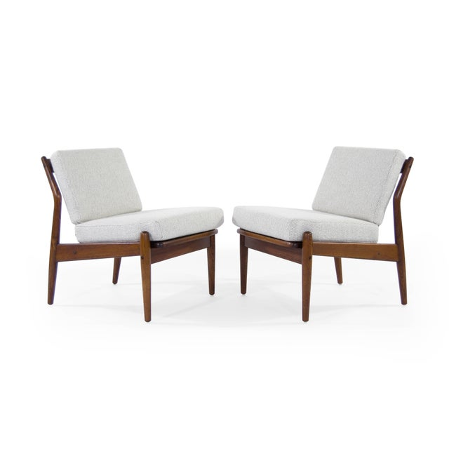 Stunning pair of slipper chairs attributed to Niels Moller, Denmark, 1950s. Teak frames fully restored, new cushions...