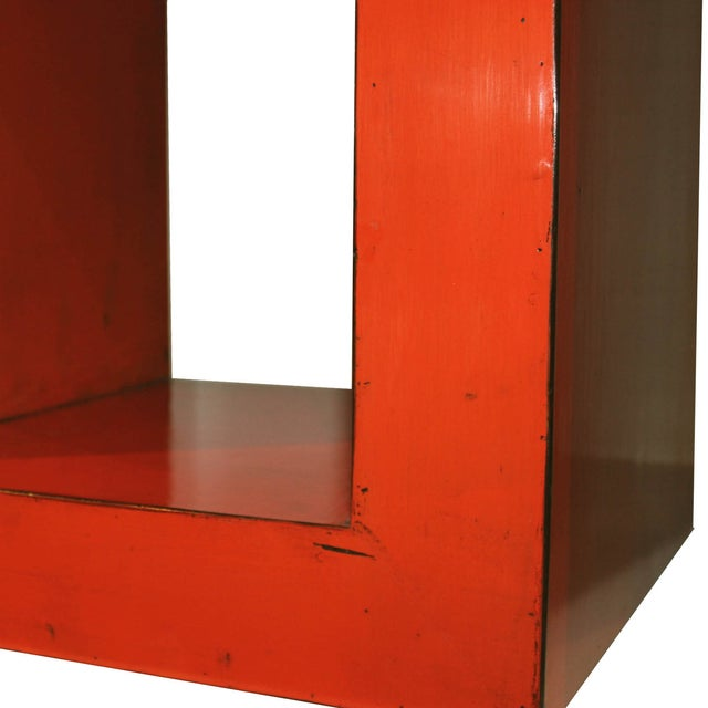 Contemporary Red-Orange Contemporary Open Side Table For Sale - Image 3 of 6