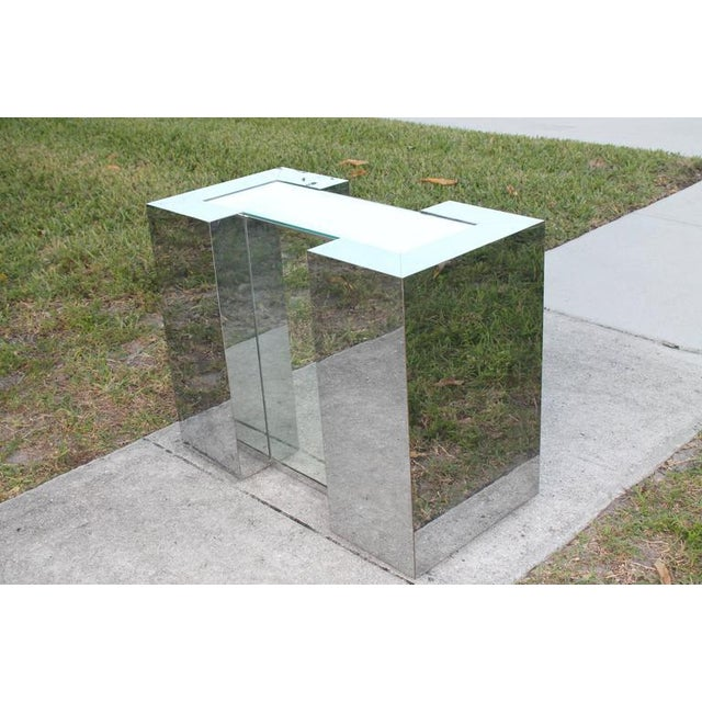 Milo Baughman Style Mirrored Chrome Dining Table Base For Sale - Image 5 of 12