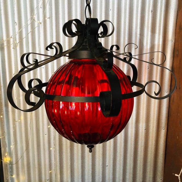 Mediterranean Vintage 1970's Red Swag Lamp For Sale - Image 3 of 7