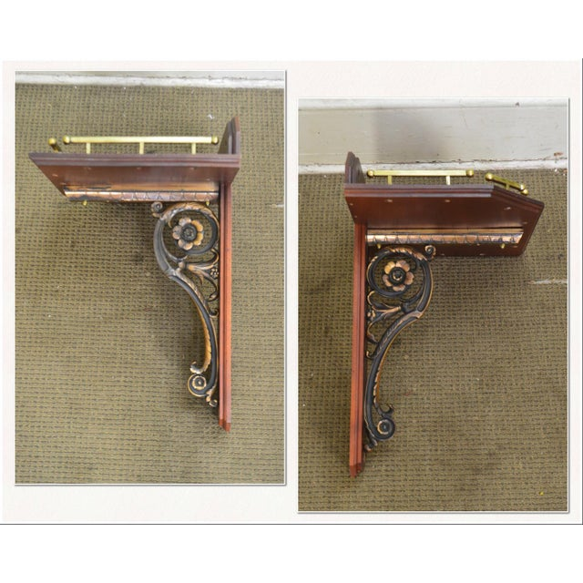 *STORE ITEM #: 18304 Victorian Antique Pair of Aesthetic Bronze and Mahogany Wall Bracket Shelves AGE / ORIGIN: 1880's,...