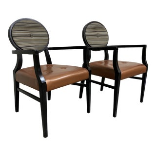 Art Deco Style Accent Arm Chairs - a Pair For Sale