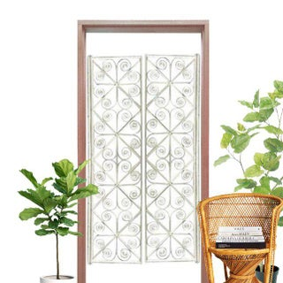 Vintage Peacock Curl Bamboo Swinging Doors / Entryway or Closet Doors - a Pair Preview