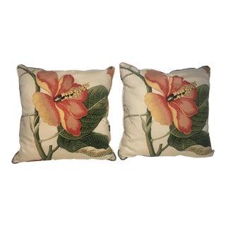 Vintage Hibiscus Floral Pillows - A Pair