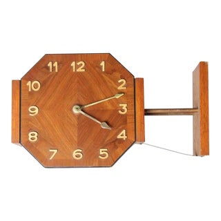 Mid-Century English Double Sided Wall Clock