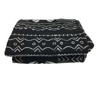 """African Mali Black & White Mud Cloth Textile 58"""" by 38"""" For Sale"""