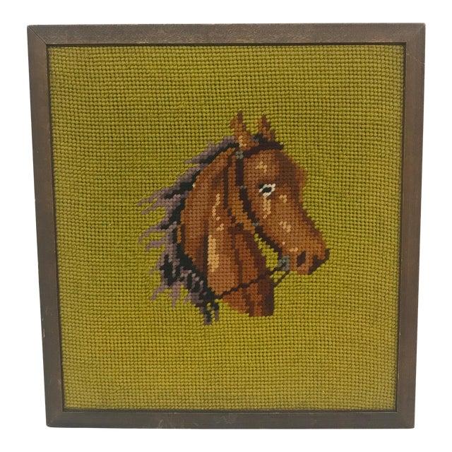 Framed Needlepoint Horse For Sale