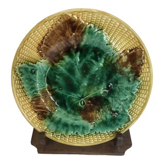 Embossed Majolica Maple Leaf Plate For Sale