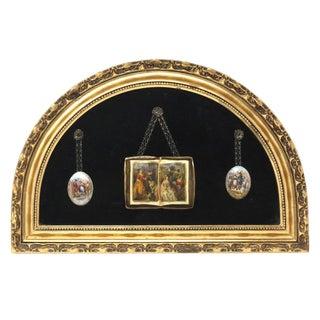 Vintage Framed Ceramic Book and Medallion Courtship Art For Sale