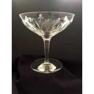 1960s Etched Crystal Pedestal Compote Bowl, Candy / Center Bowl Server, Floral Etched Preview