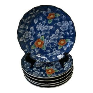 Vintage Japanese Blue Floral Porcelain Salad Plates- Set of 6 For Sale
