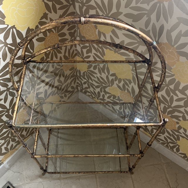 Metal Gilt Metal Faux Bamboo Etagere For Sale - Image 7 of 12