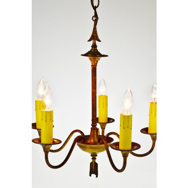 Antique Brass 5 Light Candle Chandelier Arrow Design For Sale - Image 12 of 13