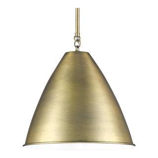 Lenox 1 Light Rod Pendant, Antique Brass For Sale