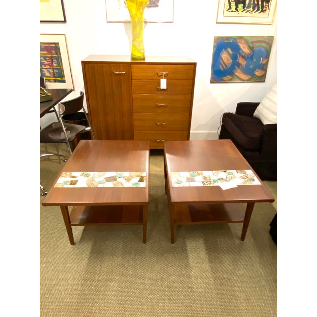 Wood Vintage Pair of Mid Century Modern Wood Side End Tables W/ Ceramic Tile Inlay For Sale - Image 7 of 7