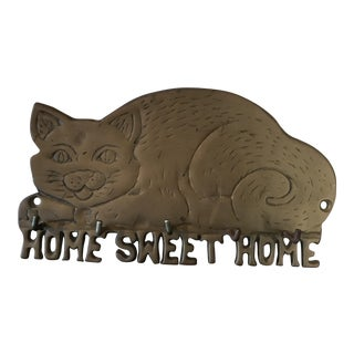 Brass Wall Hanging Key Holder Cat