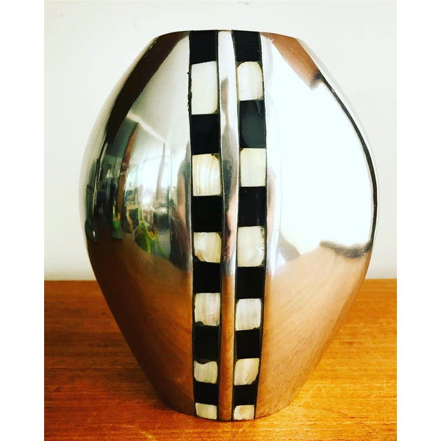 Flower Vase With Abalone Shell Chrome For Sale In New York - Image 6 of 6