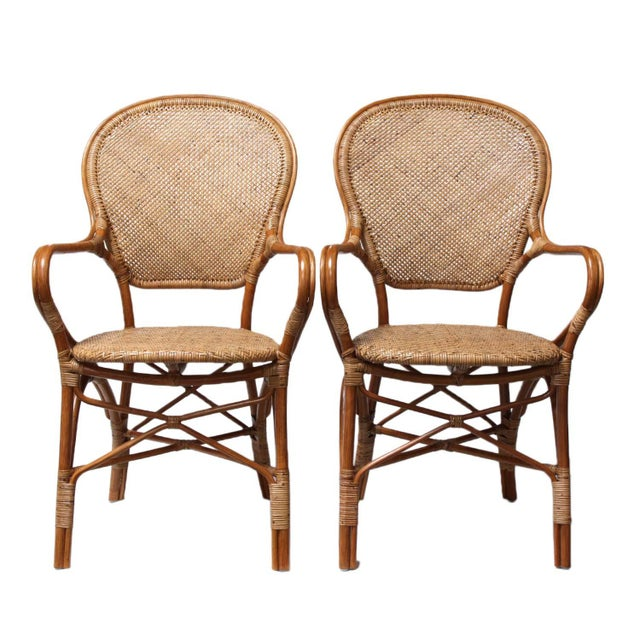 Rattan Bistro Dining Chairs - Set of 4 - Image 5 of 7