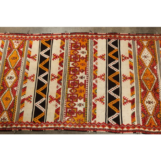 Great one of a kind, hard to find vintage Moroccan tribal rug with flat-weave alternate with design in long pile wool....