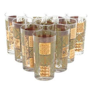 Mid-Century Heraldic Gilt Green Tumblers - Set of 10 For Sale