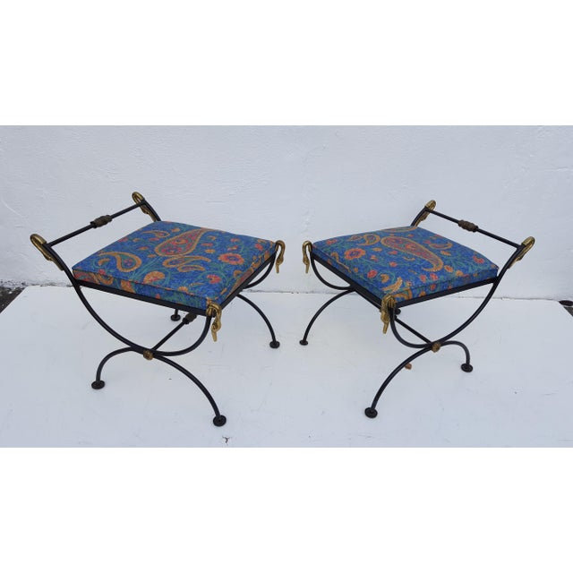 Italian Brass Swan Motif Stools - A Pair For Sale - Image 4 of 11